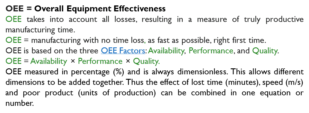 overall equipment effectiveness definition The overall equipment effective framework, or oee framework for so we notice that our overall equipment effectiveness is 30%, we get eighteen minutes of value out.